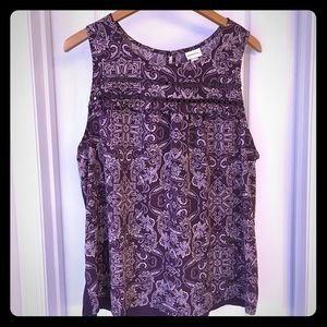 Merona XL Sleeveless Purple Ruffled Paisley Blouse